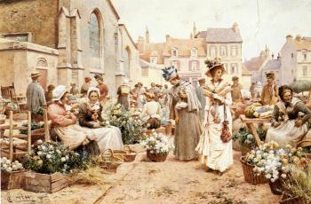 Flower Market in a French Town